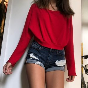 Sweaters - Red Cropped Sweater